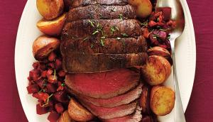 Pumpkin Spice Roast Beef with Warm Beets