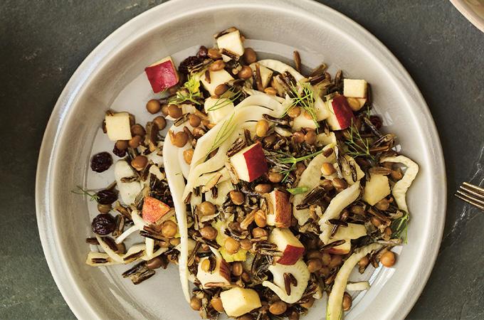 Salade de riz sauvage pommes-fenouil