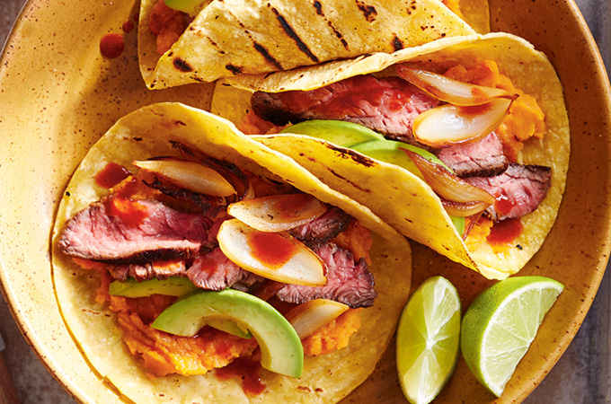 Grilled Beef Tacos with Sweet Potatoes