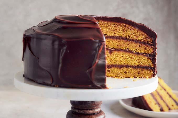 Gâteau à la courge et ganache au chocolat noir