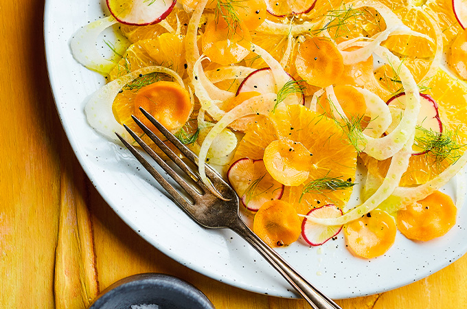 Salade d'oranges, de carottes et de fenouil
