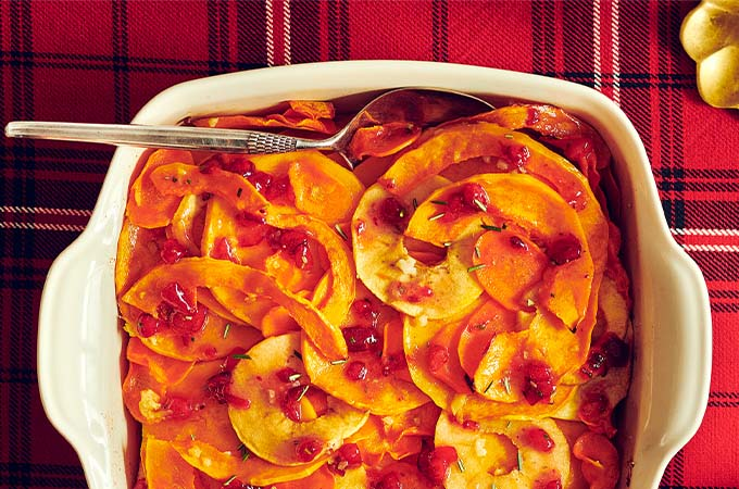Étagé de courge et de carottes à la pomme