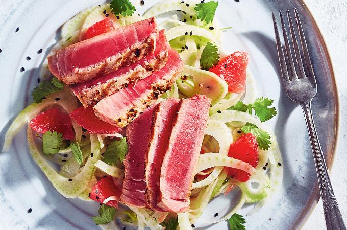 Thon confit sous vide et salade de fenouil et de pamplemousse