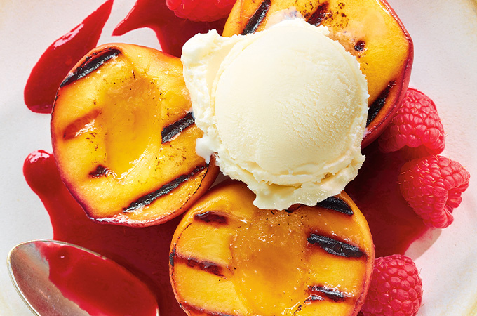 Grilled Peaches with Raspberry Coulis