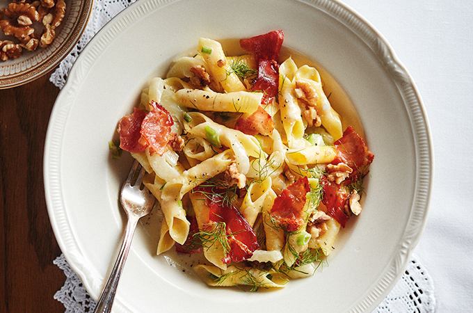 Garganelli Pasta with Gorgonzola, Fennel and Speck (garganelli con gorgonzola, finocchio e speck)