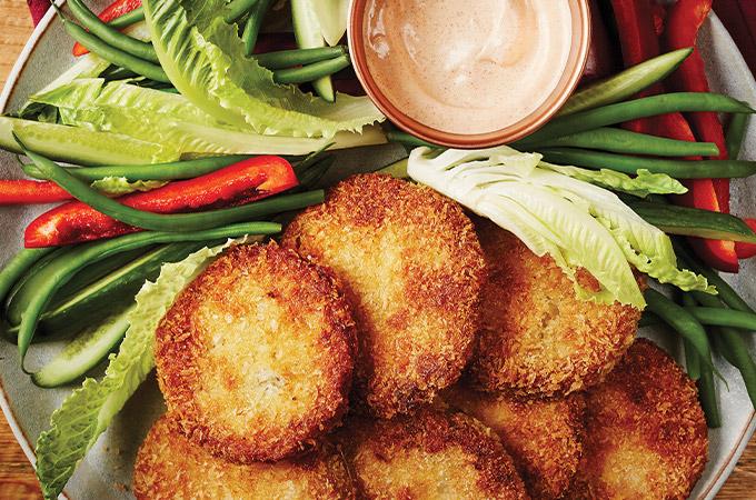 Tomates vertes frites et trempette au paprika