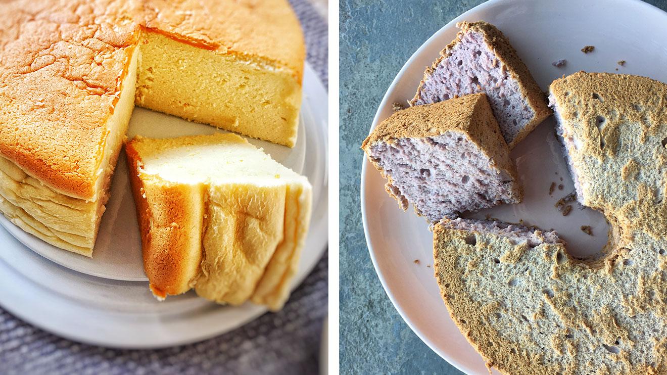 gâteau au fromage et gâteau des anges aux bleuets