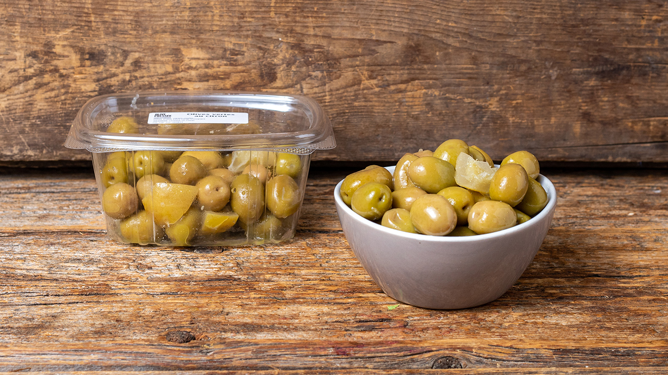 Olives vertes au citron d'Olive Pressée
