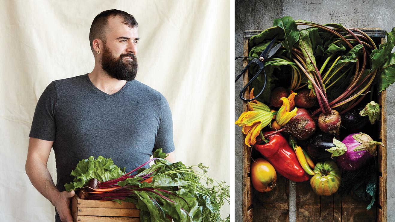 jardinier avec sa récolte de légumes