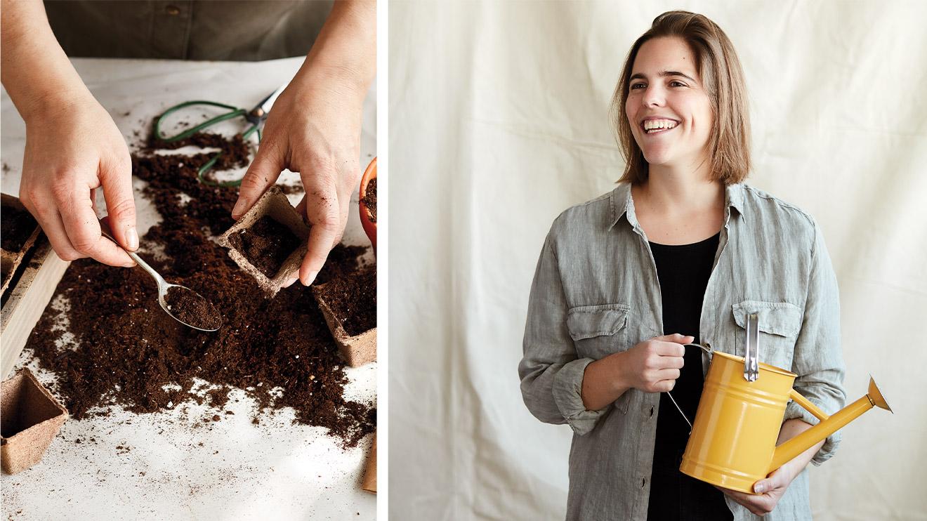 préparation de semis avec une jardinière et son arrosoir