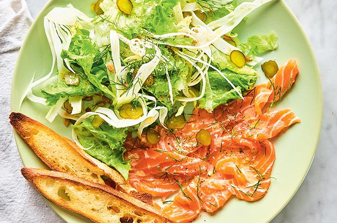 Salade de fenouil et carpaccio de saumon