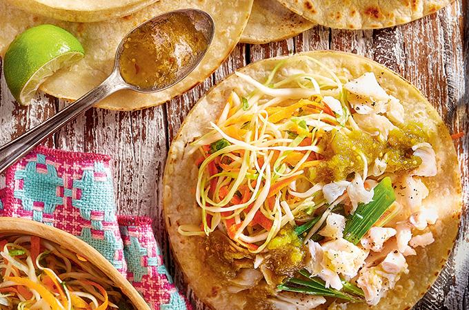 Fish Tacos with Tomatillo Salsa