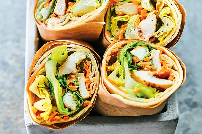 Wraps à la salade de poulet grillé