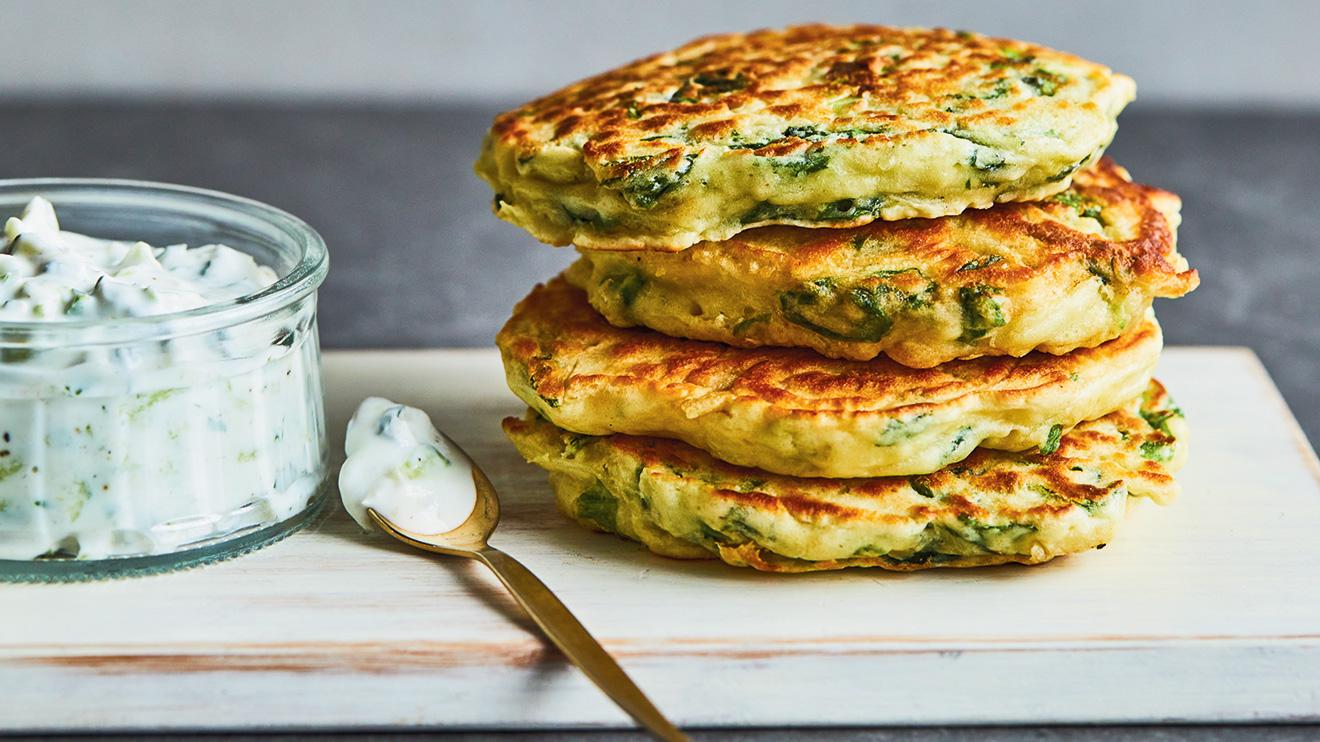 pancakes à la laitue et tzatziki