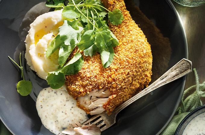 Cuisses de poulet aux flocons de maïs